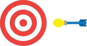 Bullseye with light bulb dart. Vector red bullseye target and yellow blue light bulb dart stock illustration