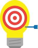 Bullseye with light bulb and dart Stock Photography