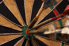 Bullseye. A macro shot of an old style dart board Royalty Free Stock Images