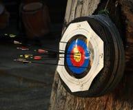 Bullseye med många pilar Royaltyfri Fotografi