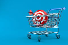 Bullseye met boodschappenwagentje vector illustratie