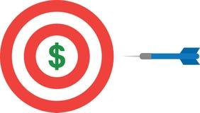 Bullseye met dollar en pijltje stock illustratie