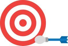 Bullseye met gloeilampenpijltje vector illustratie