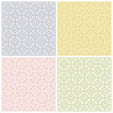 Bullseye Pattern in Pastels. A seamless geometric bullseye pattern in four colorways. Repeat size is 6 vector illustration