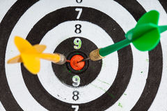 Bullseye. target with darts as sport background Royalty Free Stock Image