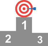 Bullseye with target on first position. Vector blue dart red bullseye target on first position on grey podium Royalty Free Stock Image