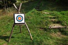 Bullseye target for range shooting. Bullseye target on a tripod for range shooting Stock Photos