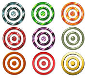Bullseye Targets. Here is a collection of nine bullseye or targets in various colors and textures Royalty Free Stock Photos