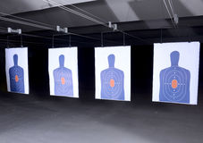 Bullseye targets at gun range Stock Photo