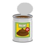 bullshit Abra una lata con mierda Absurdo en el banco Vector IL Fotografía de archivo