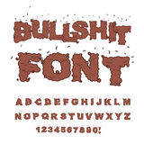 Font. Alphabet of poop with flies. Shit alphabet and in. Sects. Bad smell text vector illustration
