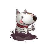 Bullterrier alegre dos desenhos animados Imagens de Stock
