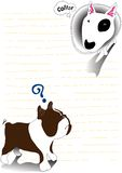 Bullterrier and bulldog note paper Stock Photo