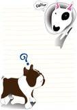 Bullterrier and bulldog note paper cartoon cute design Stock Photo