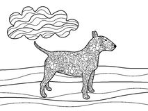 Bullterrier dog coloring book for adults vector Royalty Free Stock Photo
