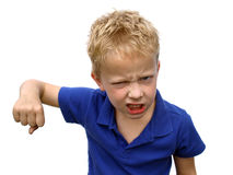 Bully. Ing child wanting to fight waving with his fist Stock Image