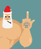 Bully bad Santa Claus shows fuck. Old grandfather with  cigar an Stock Photo