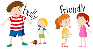 Bully boy and friendly girl Stock Images
