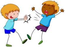 Bully boy pushing friend. Illustration Royalty Free Stock Photography