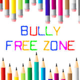 Bully Free Zone Indicates Bullying Children And Cyberbully Stock Photos