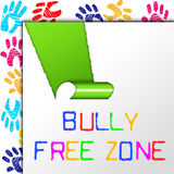 Bully Free Zone Indicates School Bullying And Assistance Stock Photo