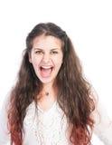 Bully girl shouting. And making an aggresive facial expresion Stock Photos