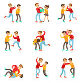 A Bully Oppressing And Bullying Other Kids With The Victims Fighting Back Or Loosing The Fight Being Beaten Up By. Stronger Boy. Set Of Flat Vector Teenage Royalty Free Stock Photos
