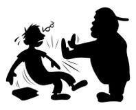 Bully que empurra a silhueta do lerdo Imagens de Stock Royalty Free