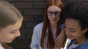 Bully teens taking phone from classmate, making fun of social media account. Stock footage stock footage