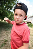 Bully. Young boy with fist clenched ready to punch someone royalty free stock photos