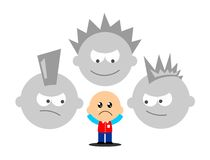 Bullying. Illustration of a scared little boy Royalty Free Stock Image