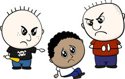 Bullying brown kid. Cartoon illustration of two childs bullying and teasing little brown kid isolated on white background Royalty Free Stock Photos