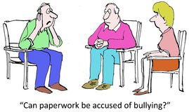 Bullying. Can paperwork be accused of bullying Royalty Free Stock Image