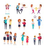 Bullying Children Cartoon Set. Bad behavior bullying children cartoon characters collection of isolated images of teenagers in different harrassment situations vector illustration