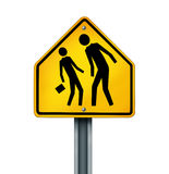 Bullying Concept. As a yellow traffic sign with an abusive bully attacking a smaller defenseless person as a symbol of the anxiety of being bullied and the Stock Image