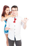 Bullying girl strangling her boyfriend Royalty Free Stock Photos