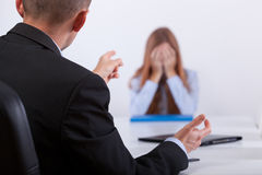 Bullying on the job meeting Stock Photos