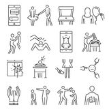 Bullying line icon set. Aggressive behavior, use of force, threat, coercion to abuse, words and actions to cause person injury or discomfort. Vector line art Royalty Free Stock Photos