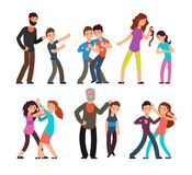 Bullying people. Students, kids fighting with angry parents and each other. Vector characters set. Conflict child fight, mother or father violence teenager Royalty Free Stock Images