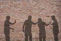 Bullying scene shadow on the wall Stock Images