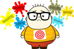 Bullying target. Stressed little fat boy target for bullies isolated on white background Royalty Free Stock Images
