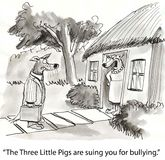 Bullying. The Three Little Pigs are suing you for bullying Royalty Free Stock Image
