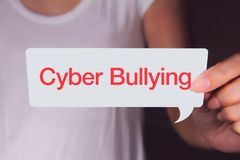 Cyber bullying words written on white paper Stock Image