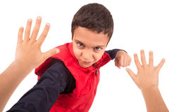 Bullying. Young boy bullying another isolated in white Stock Images