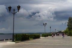 Bulwar miasto Rosyjski Samara, dokąd puchar świata trzyma zdjęcie royalty free