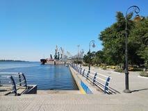 Bulwar na Zaporoskiej rzece, Kherson miasto, Ukraina fotografia stock