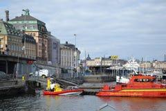 Bulwar w cental części Sztokholm Fotografia Royalty Free