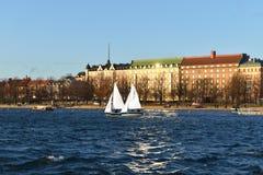 Bulwar w Helsinki Żaglówki w morzu Obraz Stock