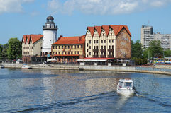 Bulwar wioska rybacka Kaliningrad Obrazy Stock