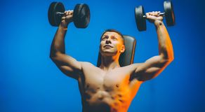 Bumbbell training male. Sexy body man indoor Stock Photo